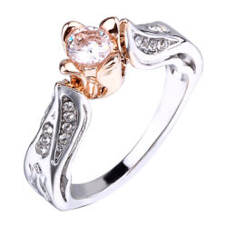Women Small Rose Flower Ring Wedding Jewelry Promise Engagement Rings Fashion