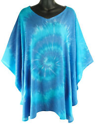 Blue Spiral Tie Dye Poncho Loose Top Casual Beach Cover Up NEW Womens XL $17.99