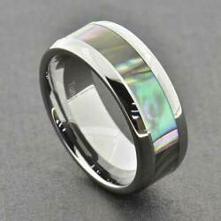 Tungsten 8mm Band Abalone Shell Inlay Multi-Colored Simply-Mix