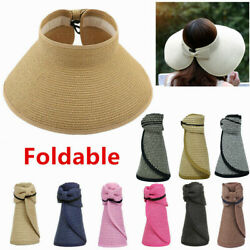 For Women Summer Straw Hat Visor Fold able Roll Up Wide Brim Open Top Sun Cap $7.99