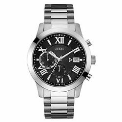 Guess Watch Atlas Men#x27;s W0668G3 Silver Case with Black Chronograph Dial. GBP 163.00