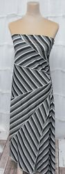 Younique Size Small Strapless High-Low Black & White Stretch Knit Evening Dress
