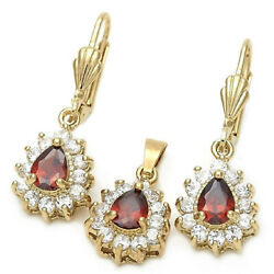 New 9CT Gold Filled Red Garnet Clear CZ Teadrop Earrings Pendant Chain Set 213