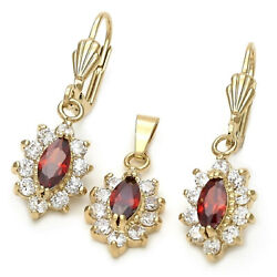 New 9 CT Gold Filled Red Garnet Clear CZ Teadrop Earrings Pendant Chain Set 214