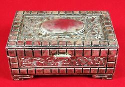 Silver Plated Jewelry Box Silvered Metal Trinket Ornaments Hinges Vintage Boxes $19.99