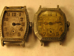 LOT OF 2 ART DECO CASED OLYMPIC ETON 6 JEWEL WATCHES FOR REPAIR PARTS