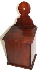 Antique GEORGIAN Mahogany Candle  Salt Box  Trinket Box  Key Storage