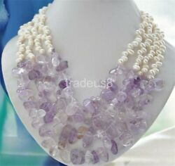 4strands 6-7mm white RICE freshwater lavender amethyst necklace 21inch