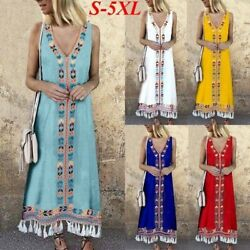 Womens Maxi Beach Dress Short Sleeve Casual Boho Kaftan Tunic Gypsy Ethnic Girls