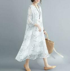 Womens Oversize Mid-long Chiffon Printed Floral Chinese Style Short Sleeve Dress