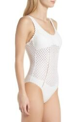 NWT New ROBIN PICCONE Eyelet Crochet One Piece Swimsuit White Sand Size 14 $38.95