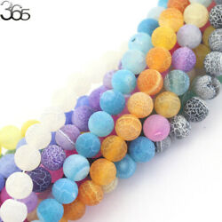 6mm 8mm 10mm Round Frost Agate Gemstone Jewelry Making Beads Strand 15