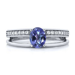 1.66 Ct Oval Blue Mystic Topaz 925 Sterling Silver Ring