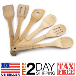6-pc Set Bamboo Kitchen Utensil Cooking Tool Spatula Mixing Salad Serving Spoon