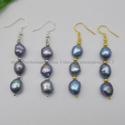 Real Natural 9-10mm Peacock Black Cultured Baroque Pearl Dangle Hook Earrings AA