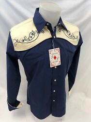 Men RODEO WESTERN COUNTRY BLUE YELLOW PAISLEY Woven SNAP UP Shirt Cowboy 06615
