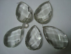 FIVE Extra Large Clear Crystal Faceted Pear Almond Shape Chandelier Drops 3 1 2quot; $35.00