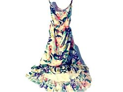 NY&C Womens Green Floral Sweet Pea New With Tags Strapless High-Low Dress Size L