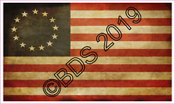 1 Betsy Ross Flag Tea Stained Vinyl Sticker Decal 13 Star American Flag
