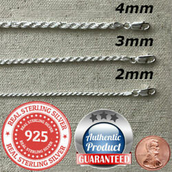 925 Sterling Silver real Italian Silver solid Rope Chain Mens  womans  Necklace  $54.99