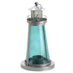 Tinted Glass Lighthouse Candle Lantern $28.00
