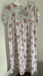 New Aria Women's Floral Print Long Nightgown Peach Pink Short Sleeve Plus 1X