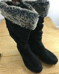 Faded Glory Womens Boots Size 6 Black cloth fur Winter Boots $32.99