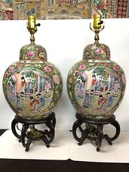 Pair Chinese Famille Rose Hand Painted Enameled Porcelain Vases Mounted As Lamp