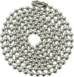 5 Pack 24in Long Ball Chain Stainless Steel Metal Dog Tag Necklace 2.3mm Bead