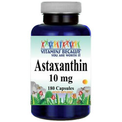 Astaxanthin 10mg 180 Capsules (from Haematococcus Pluvialis) by Vitamins Because
