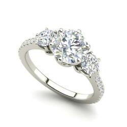 Pave 3 Stone 3.5 Carat SI1F Round Cut Diamond Engagement Ring White Gold