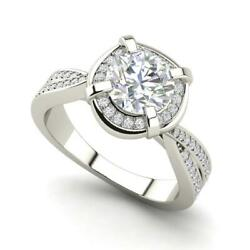 Twisted Halo 2.4 Carat VVS2F Round Cut Diamond Engagement Ring White Gold