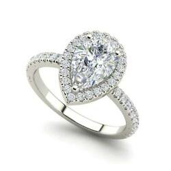 Pave Halo 3.2 Carat SI1D Pear Cut Diamond Engagement Ring White Gold