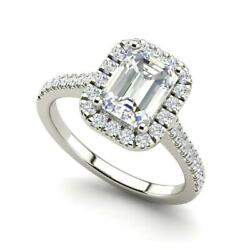 Halo Pave 2.35 Carat VS1H Emerald Cut Diamond Engagement Ring White Gold