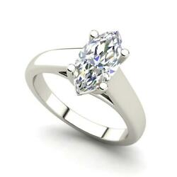 Solitaire 3 Carat VS2H Marquise Cut Diamond Engagement Ring White Gold