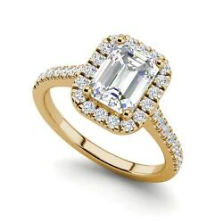 Halo Pave 2.35 Carat VS1H Emerald Cut Diamond Engagement Ring Yellow Gold