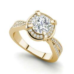 Twisted Halo 2.4 Carat VVS2F Round Cut Diamond Engagement Ring Yellow Gold