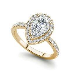 Pave Halo 3.2 Carat SI1D Pear Cut Diamond Engagement Ring Yellow Gold