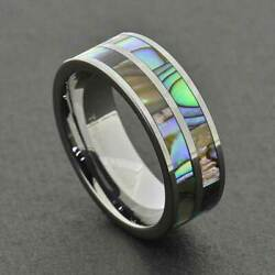 8mm Shiny Tungsten Duo Abalone Shell Stripes Inlay Men's Wedding Ring