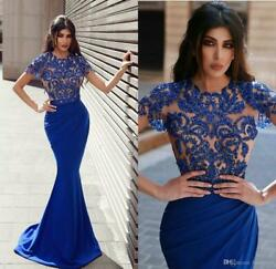 Bead Short Sleeve Mermaid Prom Dresses Sexy Party Pageant Celebrity Evening Gown