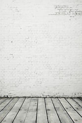 6x8ft Vinyl White Gray Brick Wall Wood Photography Banner Backdrop Background $28.00