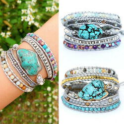 Wrap Leather Bracelet Gift Multi-layer for Women with Turquoise Charm Beads New