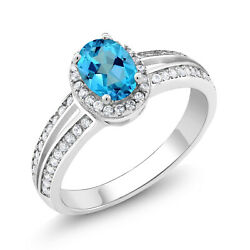 1.60 Ct Oval American Blue Mystic Topaz 925 Sterling Silver Ring