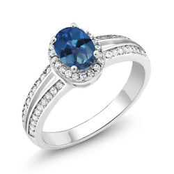 1.40 Ct Oval Blue Mystic Topaz 925 Sterling Silver Ring