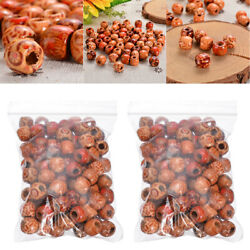 200Pcs 12mm Mixed Large Hole Boho Wooden Beads DIY Craft Bracelet Hair Extension