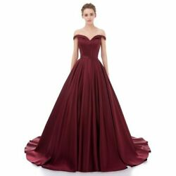 Satin Off Shoulder Ball Evening Gown Long Party Quinceanera Pageant Prom Dresses
