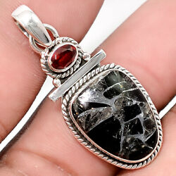 Silver Black Turquoise and Garnet 925 Sterling Silver Pendant Jewelry SDP39481