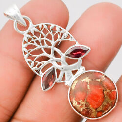 Tree of Life Copper Red Turquoise and Garnet 925 Silver Pendant Jewelry SDP25016