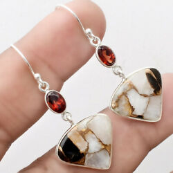 Copper White Buffalo Turquoise and Garnet 925 Silver Earrings Jewelry SDE21955