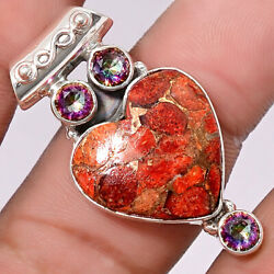 Heart Copper Red Turquoise and Magic Topaz 925 Silver Pendant Jewelry SDP32576